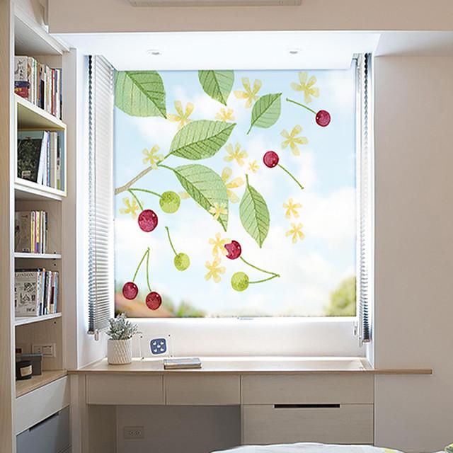 Green Plants Window Film & Stickers Decoration Matte / Patterned Flower / Floral / 3D Print PVC(PolyVinyl Chloride) Window Sticker / Matte / Door Sticker