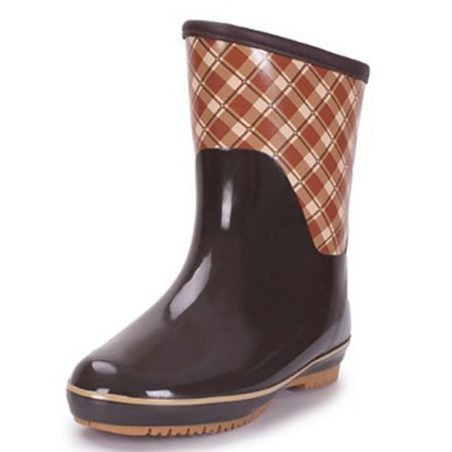 Women's Boots Low Heel Round Toe Rubber Mid-Calf Boots Fall Green / Coffee