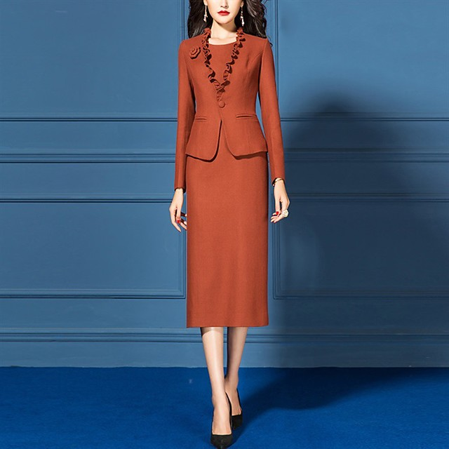 The Great Gatsby Retro Vintage 1950s Elegant Dress Coat Outfits Women's Costume Orange Vintage Cosplay Work Office & Career Long Sleeve
