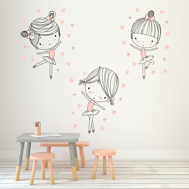 Cover Dancing Girls Decorative Wall Stickers - Plane Wall Stickers  Princess Nursery / Kids Room