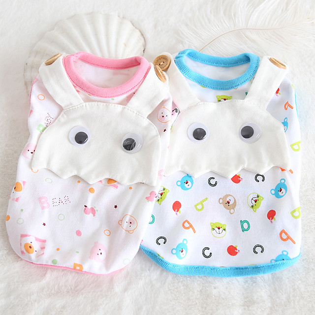 Dog Costume Shirt / T-Shirt Dog Clothes Breathable Blue Pink Costume Beagle Bichon Frise Chihuahua Cotton Cartoon Quotes & Sayings Casual / Sporty Cute XS S M L XL