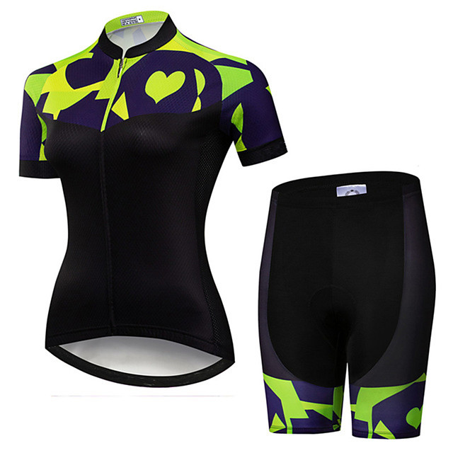 21Grams Women's Short Sleeve Cycling Jersey with Shorts Black / Green Patchwork Bike Clothing Suit Breathable Quick Dry Ultraviolet Resistant Sweat-wicking Sports Patchwork Mountain Bike MTB Road