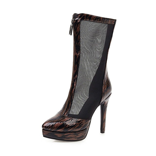 Women's Boots Mesh Stiletto Heel Round Toe Microfiber Mid-Calf Boots Classic Spring &  Fall Brown / Black / Wedding / Party & Evening / Color Block