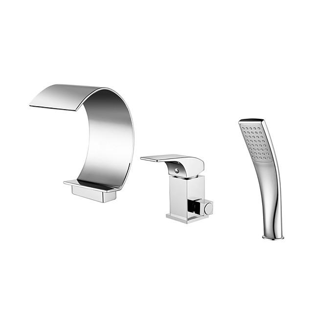 Bathtub Faucet - Contemporary Chrome Roman Tub Ceramic Valve Bath Shower Mixer Taps / Brass / Single Handle Three Holes
