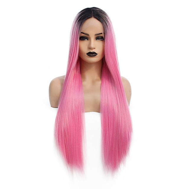 Synthetic Lace Front Wig Straight Gaga Middle Part Lace Front Wig Pink Long Ombre Pink Synthetic Hair 22-26 inch Women's Heat Resistant Women Hot Sale Pink / Glueless