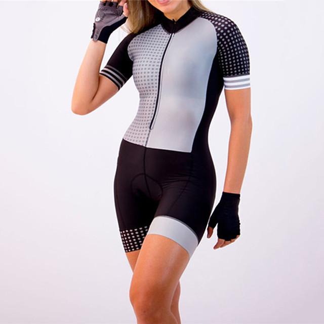 21Grams Women's Short Sleeve Triathlon Tri Suit Black / White Dot Bike Clothing Suit UV Resistant Breathable Quick Dry Sweat-wicking Sports Dot Mountain Bike MTB Road Bike Cycling Clothing Apparel