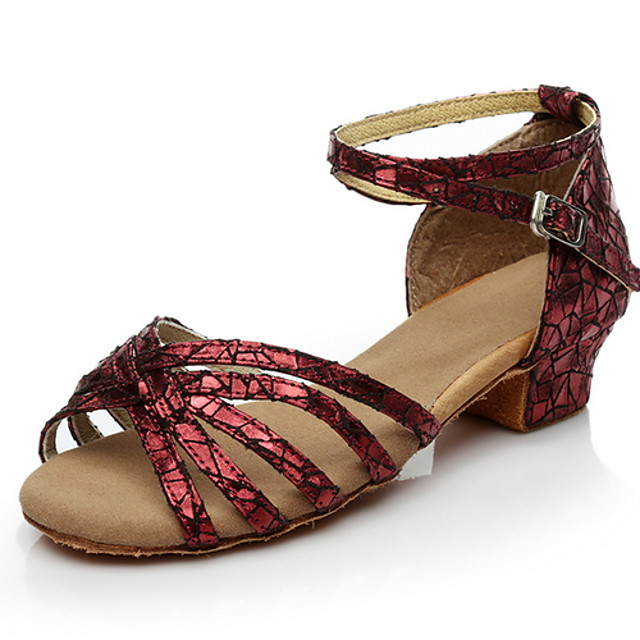 Women's Latin Shoes PU Heel Thick Heel Dance Shoes Black / Gold / Silver