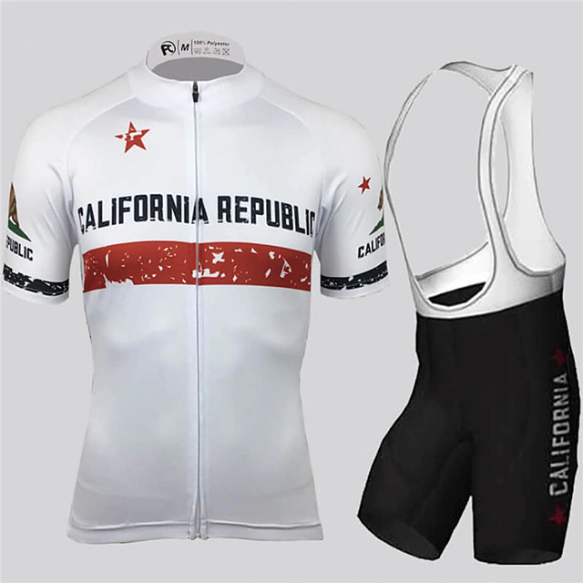 21Grams Men's Short Sleeve Cycling Jersey with Bib Shorts Black / White California Republic National Flag Bike Clothing Suit UV Resistant Breathable Quick Dry Sports California Republic Mountain Bike