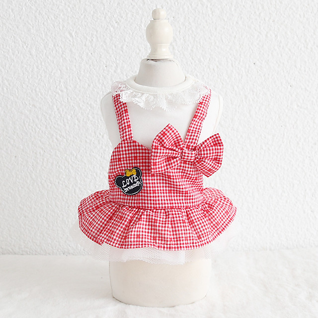 Dog Costume Dress Dog Clothes Breathable Black Red Costume Beagle Bichon Frise Chihuahua Cotton Plaid / Check Bowknot Lace Casual / Sporty Cute XS S M L XL