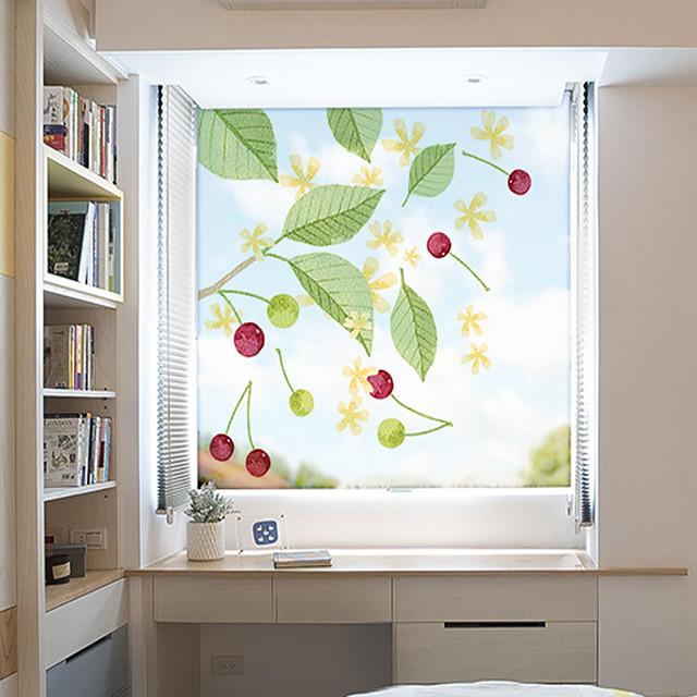 Cherry Pattern Matte Window Film Static Cling Vinyl Thermal-Insulation Privacy Protection Home Decor For Window Cabinet Door Wardrobe Window Sticker / Matte / Door Sticker