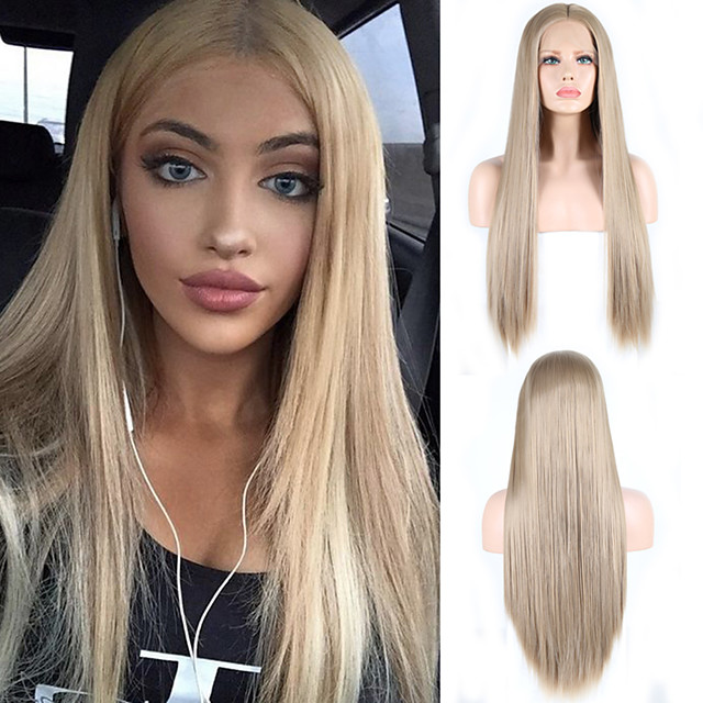 Synthetic Lace Front Wig Natural Straight Silky Straight Middle Part Lace Front Wig Blonde Long Golden Blonde Synthetic Hair 18-24 inch Women's Cosplay Heat Resistant Party Blonde