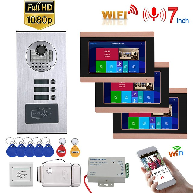 7inch Record Wired Wifi Video Intercom 3 Apartments Doorphone System with  RFID 1080P Doorbell Camera Electric Strike Lock