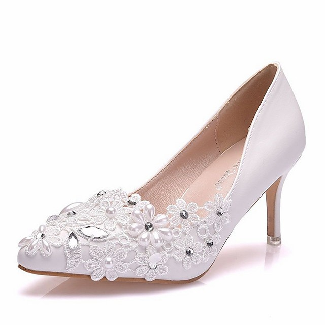 Women's Wedding Shoes Stiletto Heel Pointed Toe PU Spring & Summer White
