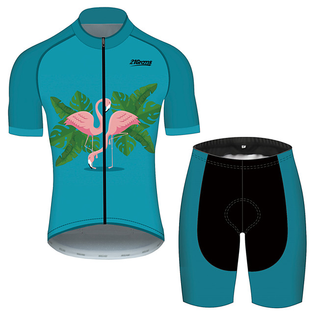 21Grams Men's Short Sleeve Cycling Jersey with Shorts Polyester Spandex Green / Black Flamingo Bike Clothing Suit Breathable 3D Pad Quick Dry Reflective Strips Sweat-wicking Sports Flamingo Mountain