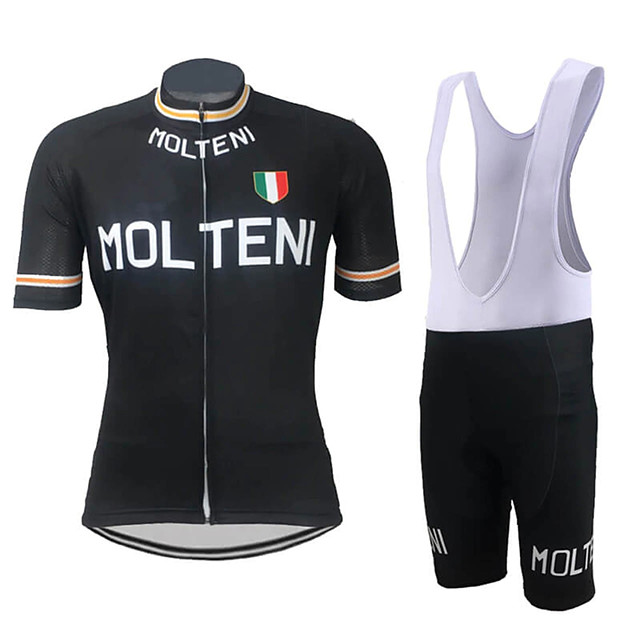 21Grams Men's Short Sleeve Cycling Jersey with Bib Shorts Spandex Polyester Black / Orange Black Retro Italy National Flag Bike Clothing Suit UV Resistant Breathable Quick Dry Sports Retro Mountain