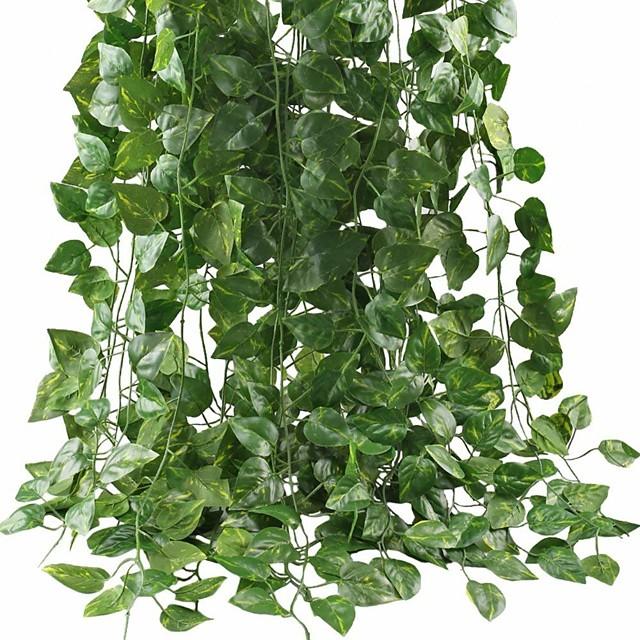 Artificial Ivy Leaf Garland Plants Vine for Hanging Wedding Garland Fake Foliage Flowers Home Kitchen Garden Office Wedding Wall Decor 2 Pack