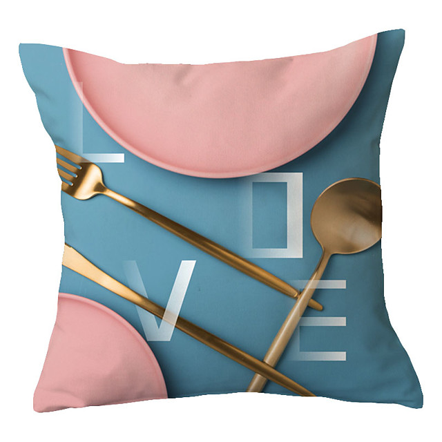1 pcs Polyester Pillow Cover Pink Warm House Scenery Simple Pillow Cover Office Waist Pillow Sofa Cushion Living Room Cushion Back Cover