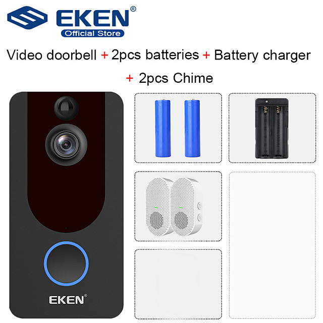 EKEN V7 HD 1080P Smart WiFi Video Doorbell with 2*18650 Battery 2*Chime 1*18650 Battery Charger