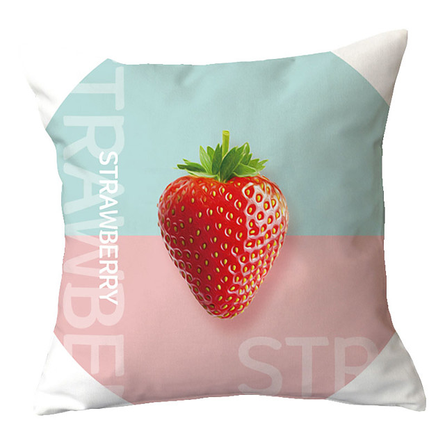 1 pcs Polyester Pillow Cover Nordic INS Small Fresh Plant Fruit Living Room Sofa Pillow Cover Office Pillow Simple Bed Pillow Cover