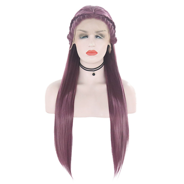 Synthetic Lace Front Wig Straight Free Part Lace Front Wig Long Purple Synthetic Hair 18-26 inch Women's Soft Adjustable Party Purple