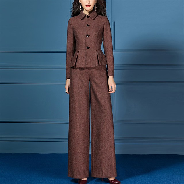 The Great Gatsby Retro Vintage 1950s Elegant Coat Pants Outfits Women's Costume Coffee Vintage Cosplay Work Office & Career Long Sleeve