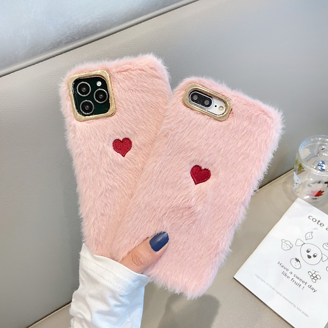 Case For Apple iPhone 11 / iPhone 11 Pro / iPhone 11 Pro Max Shockproof Back Cover Heart / Solid Colored / Plush TPU