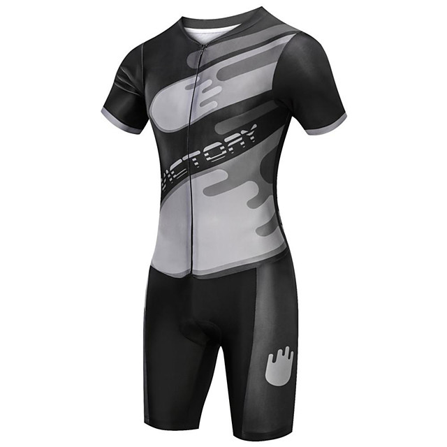 21Grams Men's Short Sleeve Triathlon Tri Suit Polyester Spandex Black Bike Clothing Suit UV Resistant Breathable Quick Dry Sweat-wicking Sports Solid Color Mountain Bike MTB Road Bike Cycling