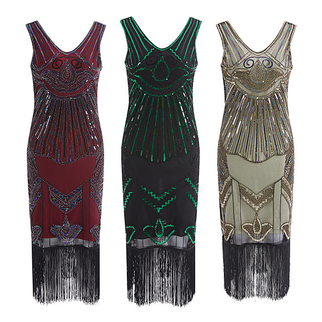 The Great Gatsby Retro Vintage 1920s Summer Flapper Dress Dress Women's Sequins Tassel Fringe Sequin Costume Green / Red / Apricot Vintage Cosplay Event / Party Sleeveless Knee Length