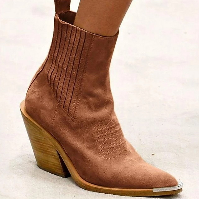 Women's Boots Winter Chunky Heel Pointed Toe Daily PU Booties / Ankle Boots Yellow / Pink / Brown