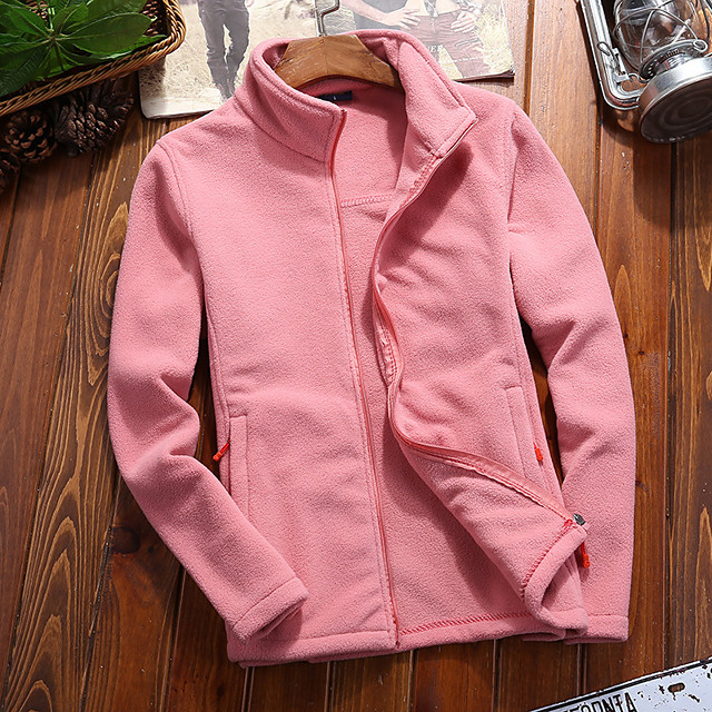 Women's Hiking Fleece Jacket Winter Outdoor Solid Color Windproof Fleece Lining Warm Comfortable Jacket Winter Fleece Jacket Top Fleece Single Slider Climbing Camping / Hiking / Caving Winter Sports