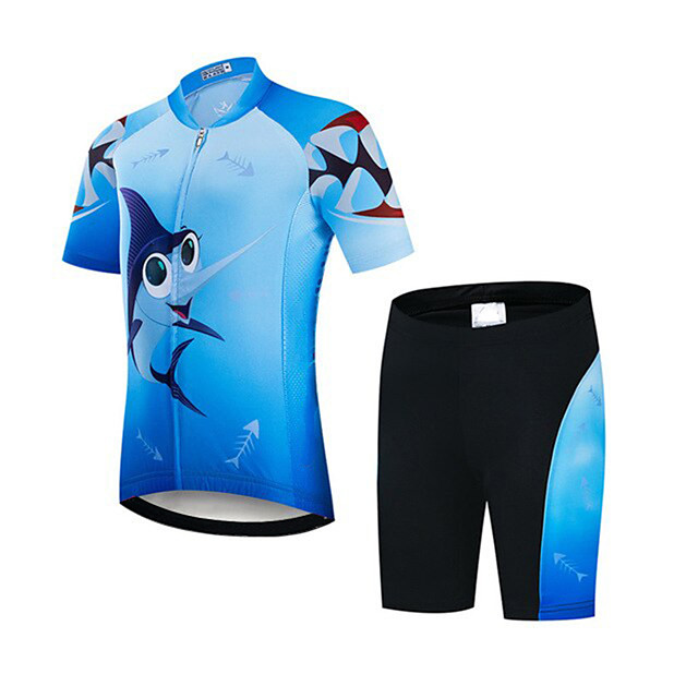 21Grams Boys' Short Sleeve Cycling Jersey with Shorts - Kid's Black / Blue Bike Clothing Suit UV Resistant Breathable Quick Dry Sweat-wicking Sports Shark Mountain Bike MTB Road Bike Cycling Clothing