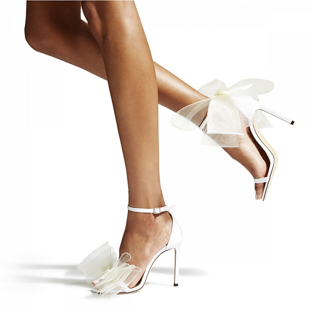 Women's Wedding Shoes Stiletto Heel Open Toe PU Summer White