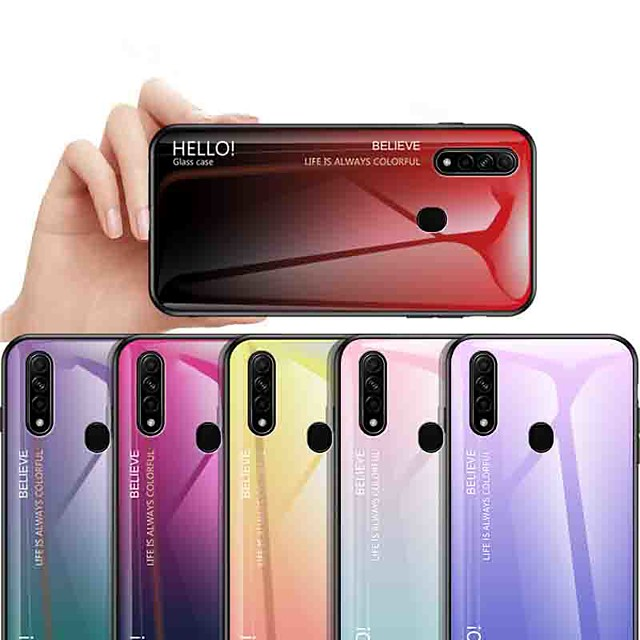 Case For OPPO OPPO Reno2 / OPPO Reno2 Z / OPPO R11 Plus Shockproof / Ultra-thin Back Cover Color Gradient Tempered Glass