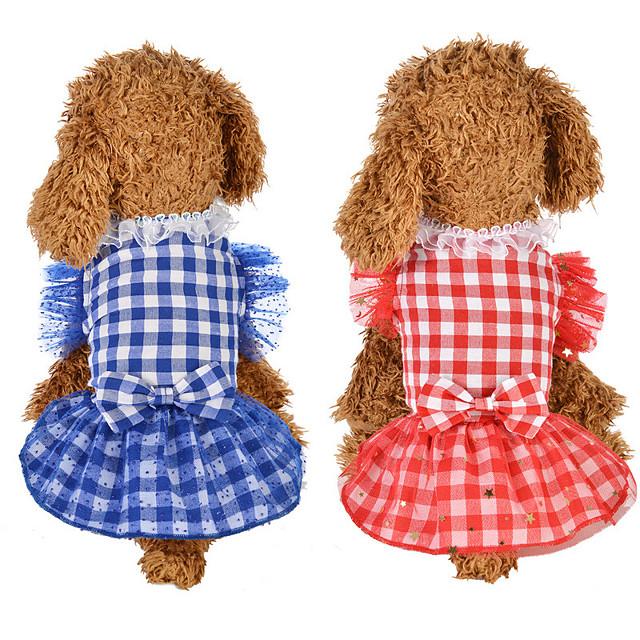 Dog Cat Dress Dog Clothes Red Blue Costume Husky Labrador Alaskan Malamute Polyester Cotton Plaid / Check Bowknot Lace Leisure Sweet XS S M L XL