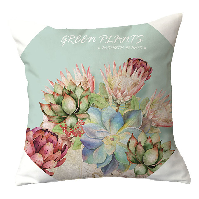 1 pcs Polyester Pillow Cover Red Hand-painted Pillow Case Cushion Succulent Cactus Green Cactus Aloe Gemstone Lotus Pillow Back