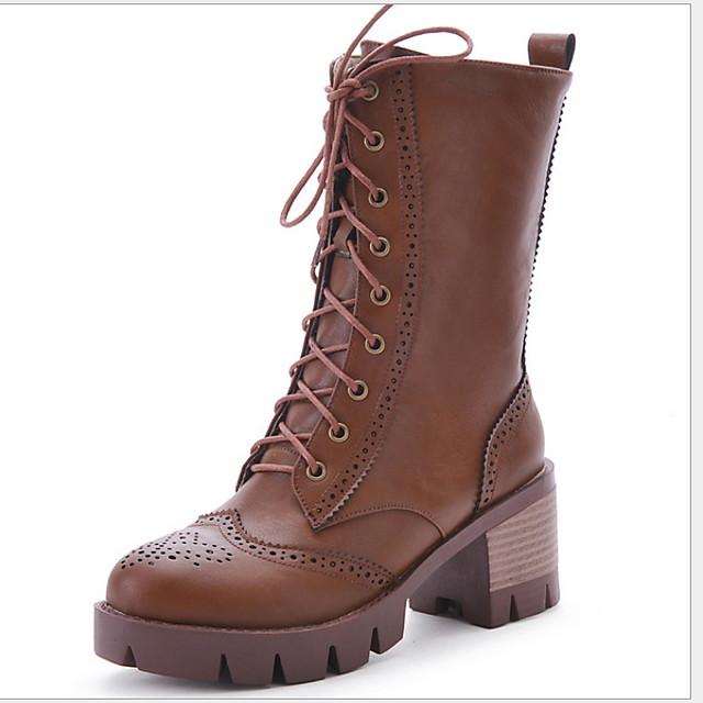 Women's Boots Chunky Heel Round Toe PU Mid-Calf Boots Winter Black / Brown / Beige