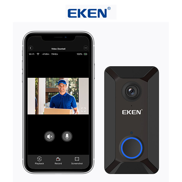 EKEN V6 Black Smart WiFi Video Doorbell Camera IP Door Bell Wireless Home Visual Intercom APP Control Security Camera