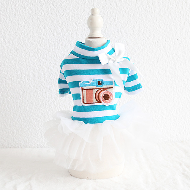 Dog Costume Dress Dog Clothes Breathable Blue Birthday Costume Beagle Bichon Frise Chihuahua Cotton Stripes Cartoon Bowknot Casual / Sporty Cute XS S M L XL