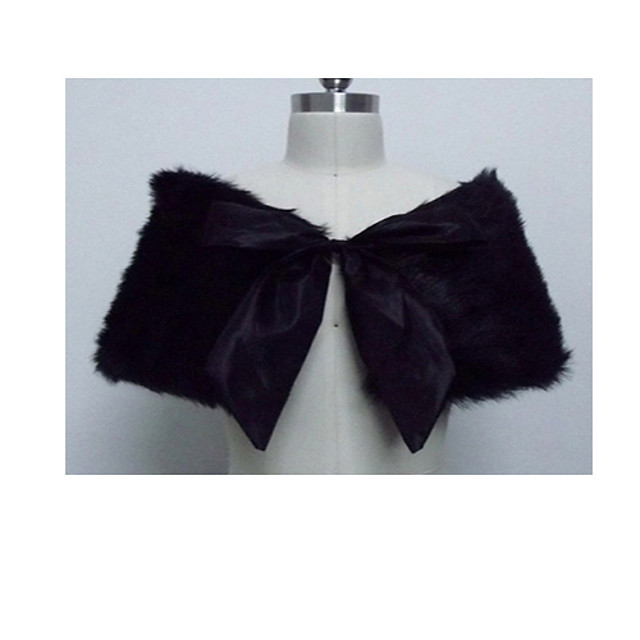 Short Sleeve Scarves Faux Fur Wedding Women's Wrap With Bowknot