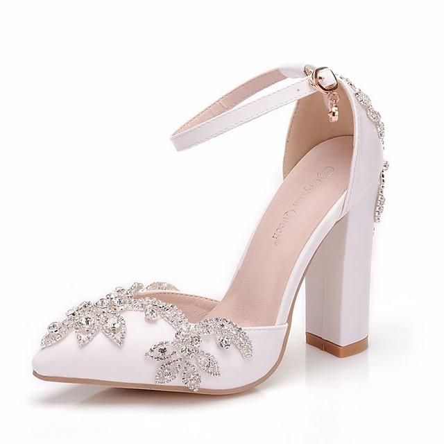 Women's Wedding Shoes Chunky Heel Pointed Toe PU Spring & Summer White / Rainbow