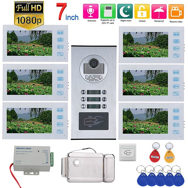 7inch Record Wired Wifi Video Intercom 2 Apartments Doorphone System with  RFID 1080P Doorbell Camera Electric Strike Lock