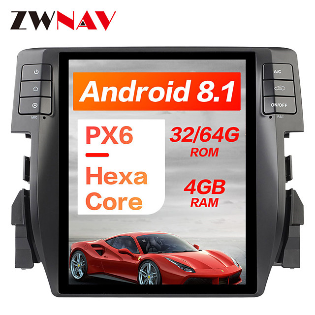 ZWNAV PX6 10.4 inch Android 8.1 1 Din 4GB 32GB Tesla style Car GPS navigation In-Dash Car DVD Player multimedia player Auto head unit radio tape For Honda Civic 2016-2019
