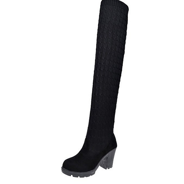 Women's Boots Chunky Heel Round Toe Suede Knee High Boots Winter Black / Brown