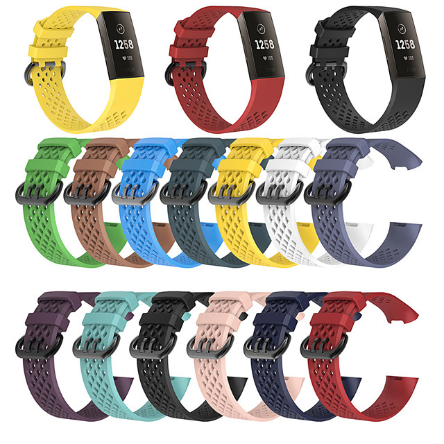 Watch Band for Fitbit Charge 3 Fitbit Modern Buckle Silicone Wrist Strap