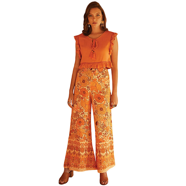 Hippie Disco Vintage Boho 1960s Pants Flowy Pants Women's Spandex Costume Orange / Red Vintage Cosplay Party