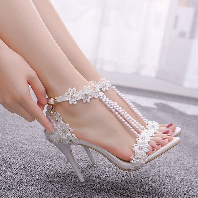 Women's Wedding Shoes Stiletto Heel Pointed Toe Wedding PU White