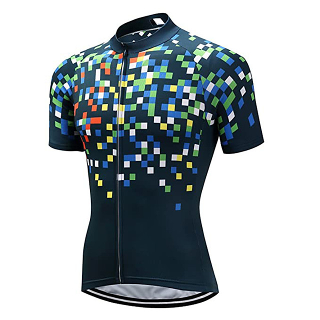 21Grams Men's Women's Short Sleeve Cycling Jersey Blue+Green Plaid / Checkered Bike Jersey Top Mountain Bike MTB Road Bike Cycling UV Resistant Breathable Quick Dry Sports Clothing Apparel / Stretchy