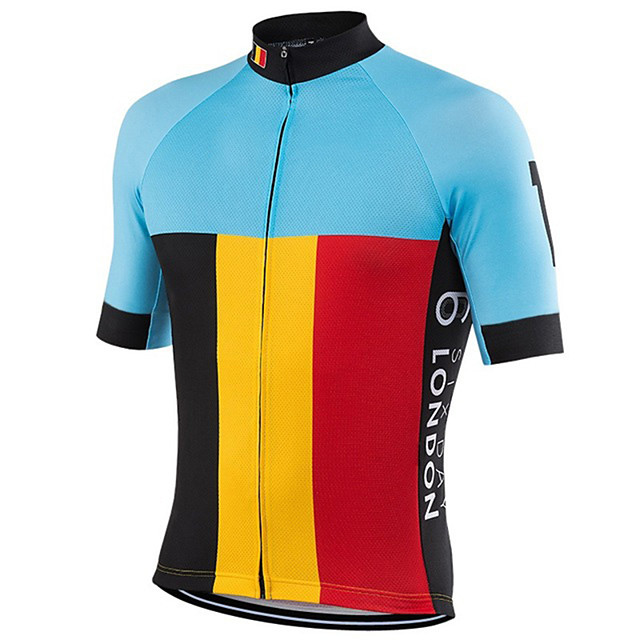 21Grams Men's Short Sleeve Cycling Jersey Blue+Yellow Belgium National Flag Bike Jersey Top Mountain Bike MTB Road Bike Cycling UV Resistant Breathable Quick Dry Sports Clothing Apparel / Stretchy