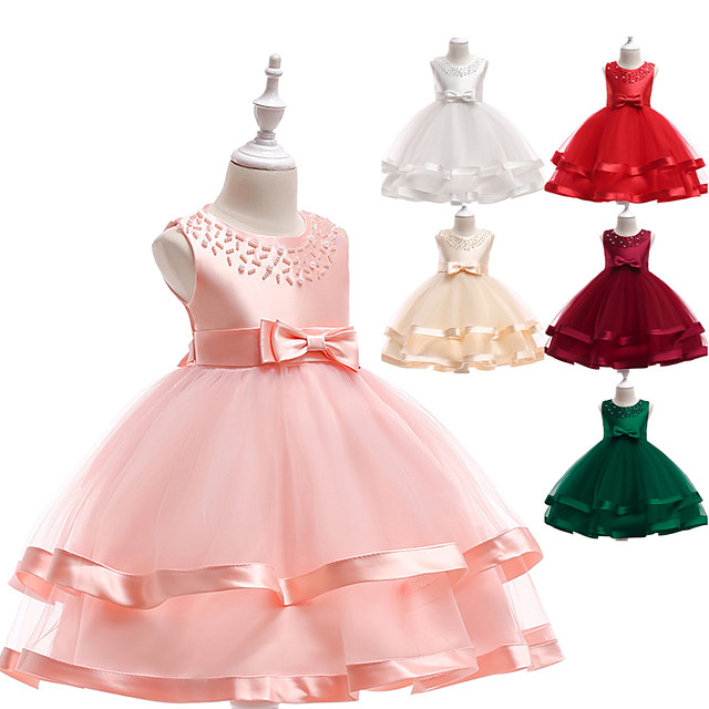Princess Dress Flower Girl Dress Girls' Movie Cosplay A-Line Slip Cosplay Red / Pink / Gray Dress Halloween Carnival Masquerade Tulle Polyester