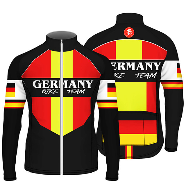 21Grams Men's Long Sleeve Cycling Jersey Black / Red Bule / Black Black / Yellow France Germany Canada Bike Jersey Top Mountain Bike MTB Road Bike Cycling UV Resistant Breathable Quick Dry Sports